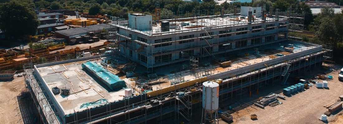 Luftaufnahme von Maurerarbeiten der Kubau GmbH