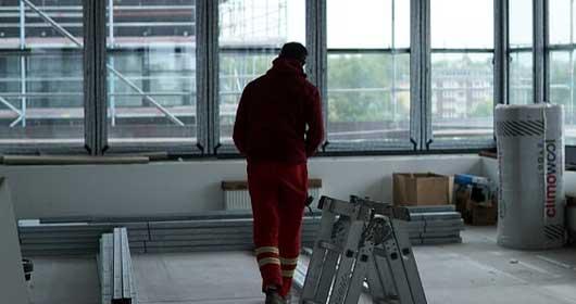 Trockenbaufenster auf einer Baustelle